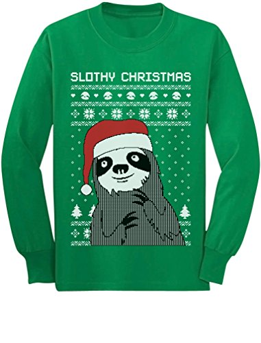 Tstars Slothy Christmas Ugly Christmas Sweater Sloth Youth Kids Long Sleeve T-Shirt Medium Green