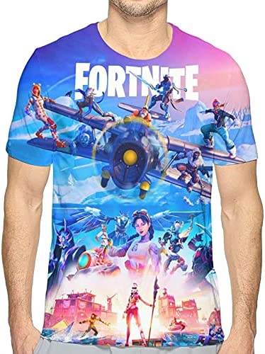 51UL Epic Games Men's Crew Neck T-Shirts, 3D Printed Fortnite Floss Short Sleeve Tee Shirt    Round Neck and Short Sleeve 3D Men Casual T-Shirt, Soft and Comfortable, Micro Elastic, Moderate Length, Loose and Comfortable T Shirt. Make You Look More Fashionable. Print out This Stylish and Fun Pattern to Make You Stand out in the Crowd.