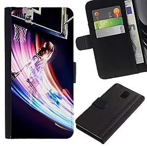 LECELL--Cuero de la tarjeta la carpeta del tirón Smartphone Slots Protección Holder For Samsung Galaxy Note 3 III -- Baloncesto Remolino colorido --