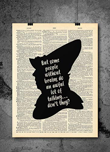 Wizard Of Oz -Scarecrow Quote - Quote Wall Art - Vintage Art - Authentic Upcycled Dictionary Art Print - Home or Office Decor - Inspirational And Motivational Quote Art ()