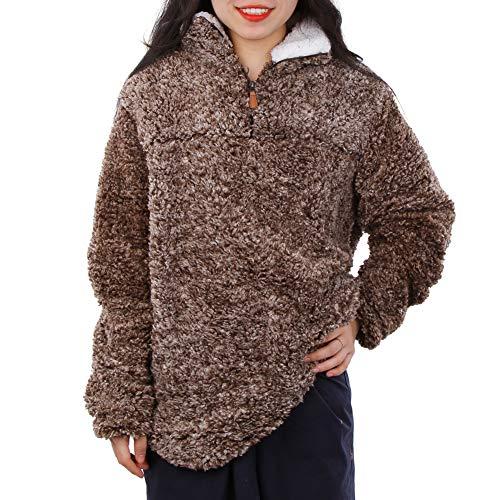 MEETWARM Women's Warm Long Sleeves 1/4 Zip Fleece Casual Sherpa Pullover Coat Fuzzy Sweatshirts Soft Outwear ()