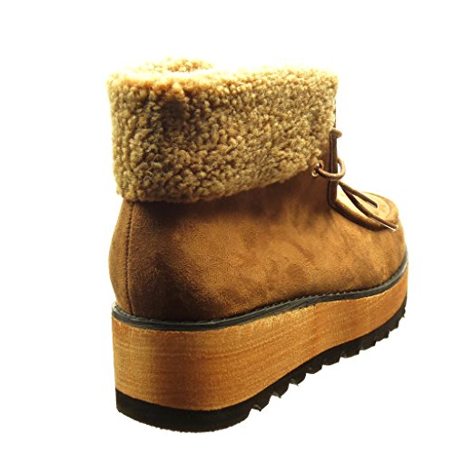 Angkorly - Zapatillas de Moda Botines zapatillas de plataforma mujer piel Talón Plataforma 4.5 CM - Camel