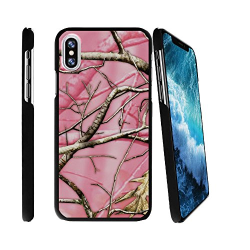 MINITURTLE Case Compatible w/ Apple iPhone X 2017 Design Case for iPhone X 2017 2017 [SNAP SHELL w/ Reinforced Snug Fit] Hard Shell Easy Install Black iPhone X 2017 Case Cover Pink Hunters Camouflage
