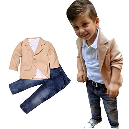 Baby Boys Gentleman Coat + Shirt +Denim Trousers Set Kids Clothes - 4