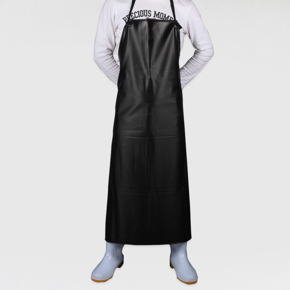 KIM DECO Aprons Pvc Smock Sleeveless Waterproof Oil-proof Rib apron Neck strap Kitchen Chef Garden Painting Craft With pocket-A 70x100cm(28x39inch)