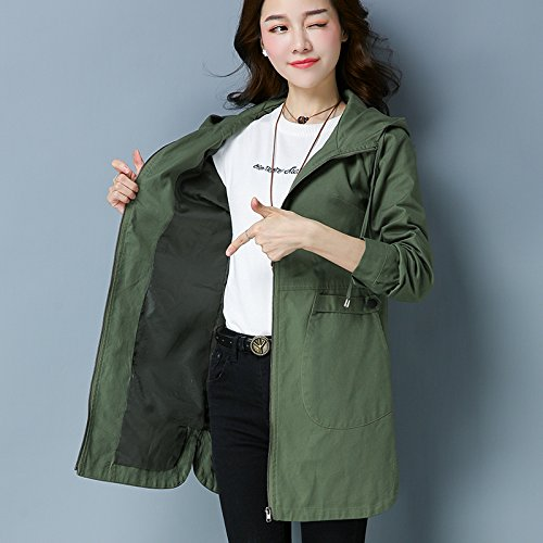 Windbreaker Cap With Versatile Fall Women Jacket Light During The And Xuanku Of Spring ArmyGreen Even Loose The Autumn And Long Season SdXAzxp