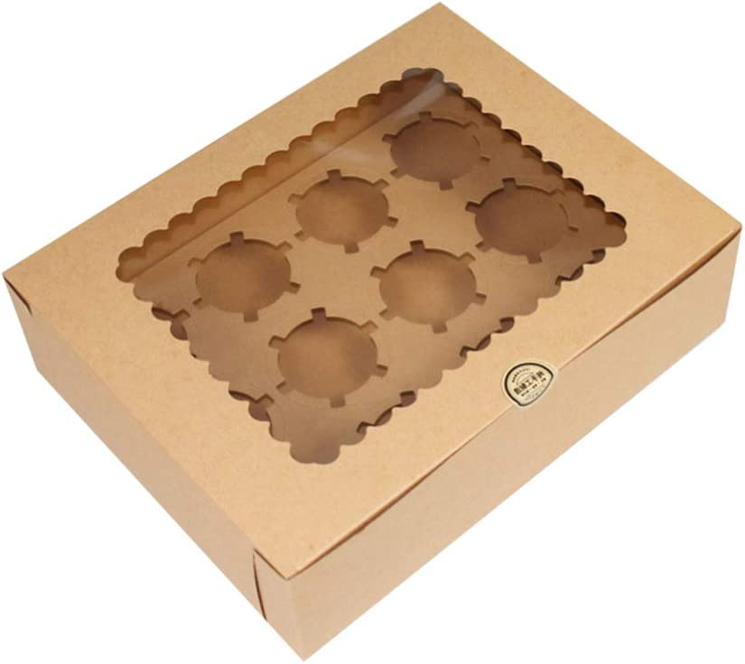 Yardwe 12 Bo/îtes /à Cupcakes /à Cavit/é Bo/îte /à Muffins /à Cupcakes avec Grande Fen/être de Visualisation Bo/îtes /à P/âtisserie Bo/îte Bio /à Emporter Bo/îte en Carton Biod/&ea