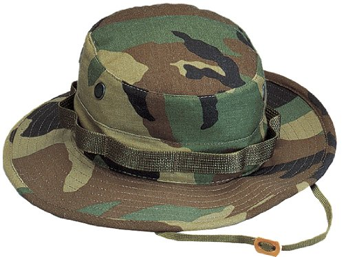[Woodland Camouflage Military Boonie Hat (Polyester/Cotton) 5800 Size 6.75] (Jungle Outfit)