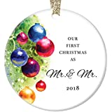 "Gay Couple Marriage Christmas Ornament 2018, Our First Christmas as Mr & Mr, Married Men 1st Xmas Together Anniversary Wedding Present Ceramic 3"" Flat Circle Porcelain with Gold Ribbon & Free Gift Box"