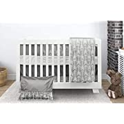 Bebelelo Baby Crib Bedding 7 Piece Set, Gray Arrow Design, Includes Fitted Sheet, Crib Comforter, Comforter Cover, Skirt, Bumper, Pillow Cover and Pillow, Perfect for Baby Girls and Boys