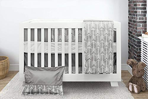 BOOBEYEH & DESIGN Baby Crib Bedding 7 Piece Set, Gray Arrow Design, Includes Fitted Sheet, Crib Comforter, Comforter Cover, Skirt, Bumper, Pillow Cover and Pillow, Perfect for Baby Girls and Boys