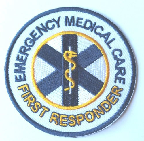 Emergency Medical Care First Responder Patch Embroidered Iron on Badge / 3 Inch DIY Applique First Aid CPR