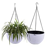 T4U 10'' Self Watering Hanging Planter Basket with Chain Pack of 2 - White, Modern Plastic Flower Pot Hanger Round Plant Holder for Outdoor Garden Porch Decor Wedding Christmas Birthday Gift