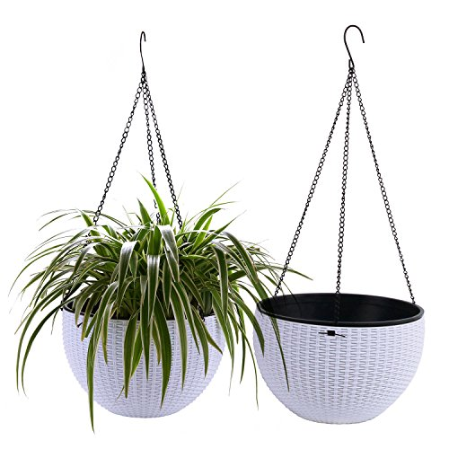T4U Plastic Hanging Planter White Pack of 2, Self Watering Basket Round Flower Plant Orchid Herb Holder Container for Home Office Garden Porch Balcony Wall Indoor Outdoor Decoration Gift