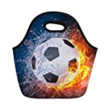 Instantarts Soccer Print Lunch Bag Thermal Cooler Lunch Box Lunch Pouch for School Work