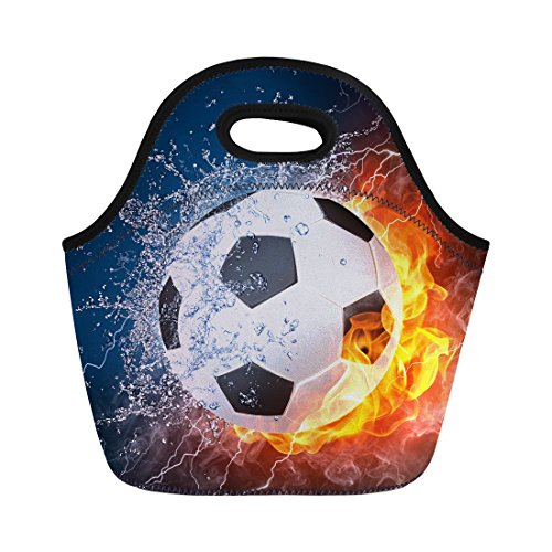 Instantarts Soccer Print Lunch Bag Thermal Cooler Lunch Box Lunch Pouch for School Work by Instantarts