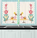 Cupcake Kitchen Decor Ambesonne Kitchen Decor Collection, Owl at Tea Party Bird with Lemon Cupcakes and Teacups Vintage Design Border Art, Window Treatments for Kitchen Curtains 2 Panels, 55X39 Inches, White Blue Pink