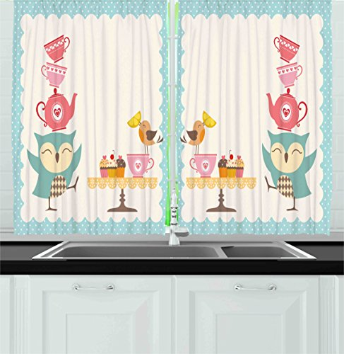 Ambesonne Kitchen Decor Collection, Owl At Tea Party Bird With Lemon  Cupcakes And Teacups Vintage Design Border Art, Window Treatments For Kitchen  Curtains ...