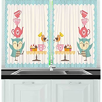 Ambesonne Kitchen Decor Collection, Owl at Tea Party Bird with Lemon Cupcakes and Teacups Vintage Design Border Art, Window Treatments for Kitchen Curtains 2 Panels, 55X39 Inches, White Blue Pink