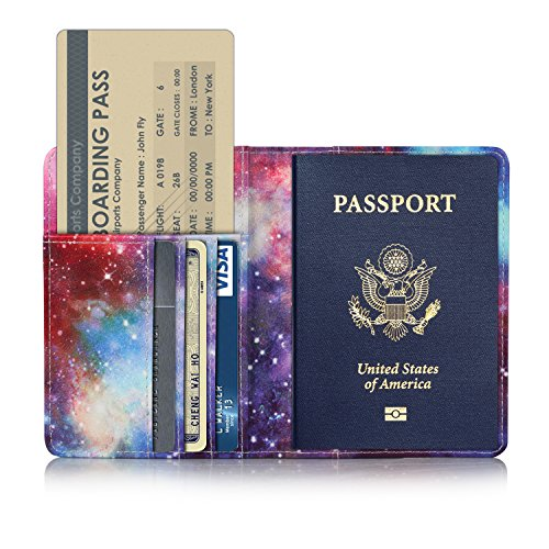 TDA Travel Passport Holder Wallet Multi-Purpose RFID Blocking ID Cards PU Leather Case Cover (Galaxy)