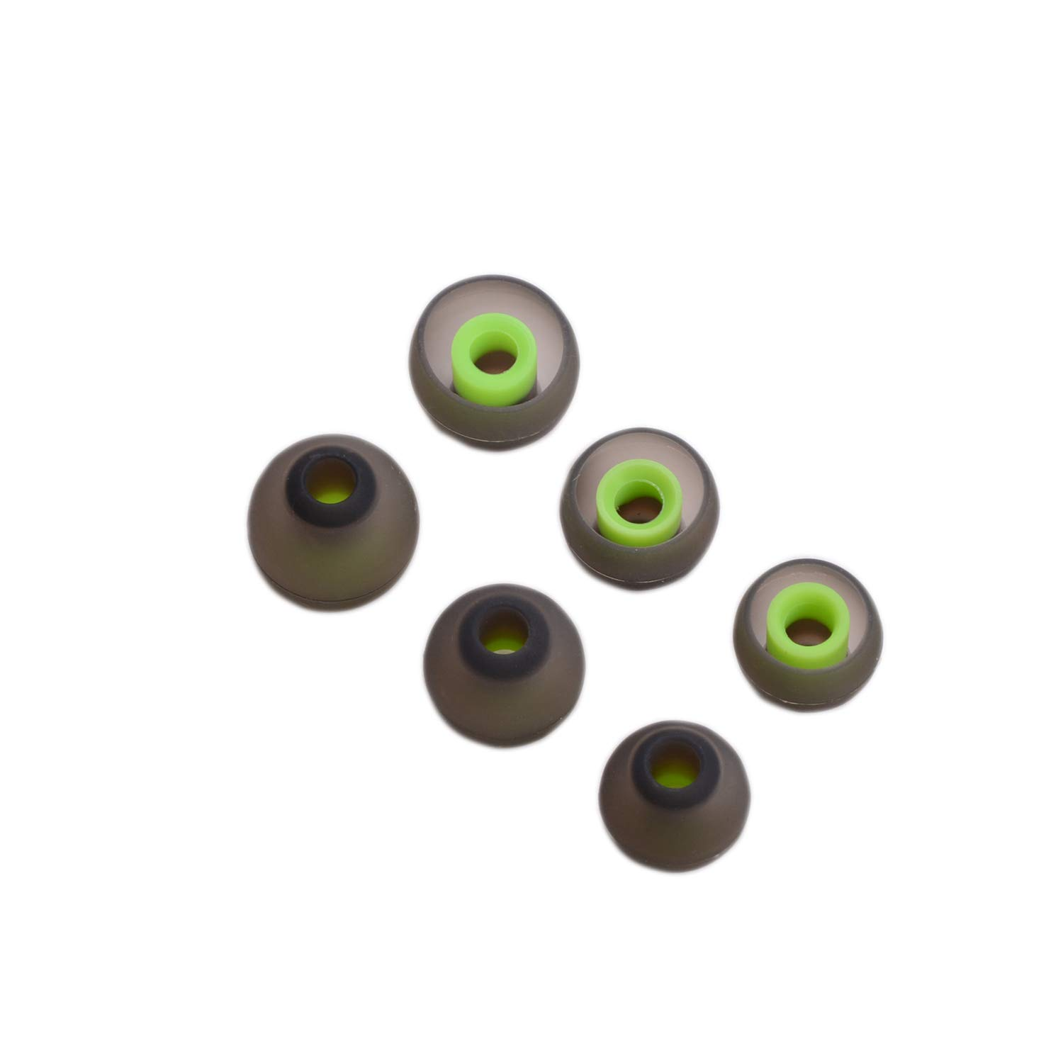 Green+Black SUNMNS 6 Pairs Silicone Eartips Eargels Earpads Ear Tips Gels Bud for Senso Zeus Otium Hussar Mpow Sport Bluetooth Headphones