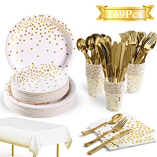 169Pcs White and Gold Party Supplies Disposable Dinnerware Set Serves 24-Gold Paper Plates Napkins Cups Tablecloth with…