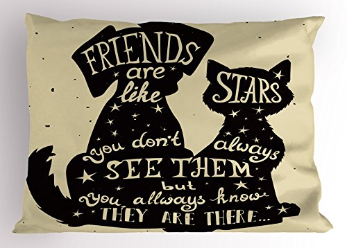Ambesonne Inspirational Pillow Sham, Cat and Dog Silhouettes with Friendship Themed Phrase ans Stars Grungy Display, Decorative Standard Size Printed Pillowcase, 26 X 20 inches, Black Tan