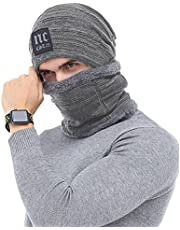 Winter Beanie Hat Scarf Set for Men Fleece Lined Skull Hat Neck Warmer Gaiter Mens Knit Beanie and Scarf for Cold Weather