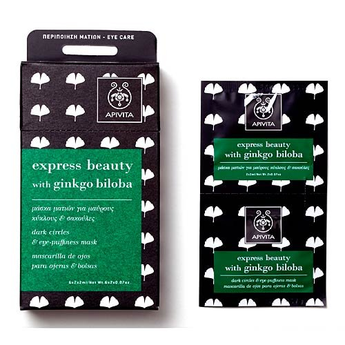 Apivita Express Beauty Dark Circles & Eye-Puffiness Mask with Ginkgo Biloba 6x(2x2ml) For Sale