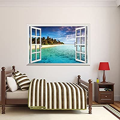 Wall Decal Fake Window Beach Landscape Coco Sea Home Sticker Paper Removable Living Dinning Room Bedroom Kitchen Art Picture Murals DIY Stick Girls Boys kids Nursery Baby Decoration