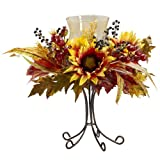 Nearly Natural 4933 Sunflower Candelabrum, Yellow