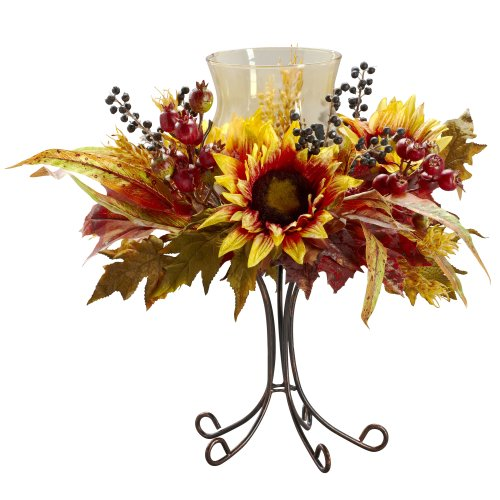 (Nearly Natural 4933 Sunflower Candelabrum, Yellow)