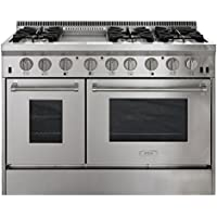 AGA APRO48AGSS 48 Professional Gas Range with RapidBake Convection, Stainless Steel