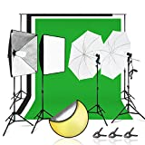 Julius Studio Complete Photo and Video Studio Lighting and Backdrop Kit with Softbox and Umbrella Reflectors, Backdrop Support System with Muslins and Clamps, and 43'' Reflector Disc, JSAG412