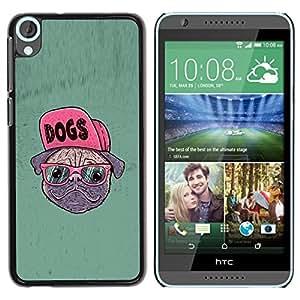 PC/Aluminum Funda Carcasa protectora para HTC Desire 820 Dog Pug Funny Art Swag Style Glasses Hipster / JUSTGO PHONE PROTECTOR