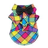 Fitwarm Vintage Plaid Dog Shirts Casual Pet Clothes Western Dog Flannel + Wedding Bow, Medium