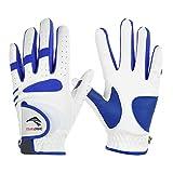 AVOLUTION Children's Full Finger Goat Skin+PU Leather Golf Glove-White+Blue