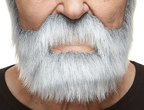 Fake Beard And Mustache (Nobleman gray with white fake beard and mustache, self adhesive)