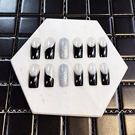 Amazon.com : 1kit=24pcs Long Square French Nails Silver Glitter Black Party False nails Tips Pre-designed Z396 : Beauty