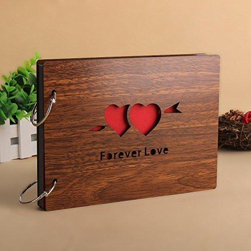 Self-Adhesive Photo Albums Ceavis Wood Scrapbook 8 X 6 Inches With 1pc Photo Corner Sticker (Adhesive Album, Forever Love)