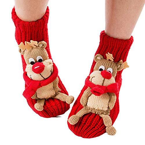 Coxeer▒ Christmas Socks 3d Animal Non-slip Household Floor Socks for Women (Cute Elk) One Size