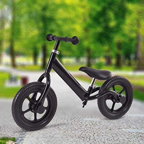 Costzon Kids Balance Bike, 12-Inch Classic Lightweight No-Pedal Walking Bicycle w/Height Adjustable Seat and Handle, for Toddlers Children Age 2-5 (Deluxe Black)