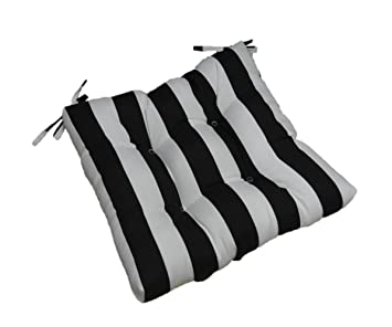 Indoor / Outdoor Black And White Stripe Universal Tufted Seat Cushion With  Ties For Dining Patio