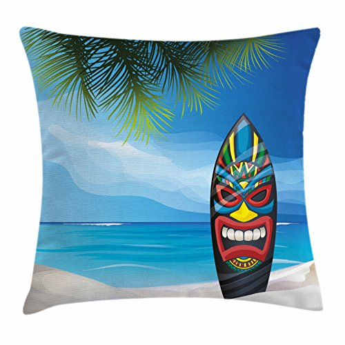 Tiki Bar Decor Throw Pillow Cushion Cover by Ambesonne, Tiki Warrior Mask Design Surfboard on Ocean Beach Abstract Landscape Surf, Decorative Square Accent Pillow Case, 18 X 18 Inches, Multicolor (Design Tiki)