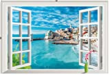 "Homefind 3D Window (33""x 22"") Italy Cinque Terre Village in the Blue Sky Wall Stickers Faux Window Glass Frame Wall Decoration Removable Living Room Bedroom Wall Decals Self Adhesive Vinyl Murals"