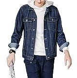 SHAREWIN Mens Denim Jacket Rugged Long Sleeve Blue