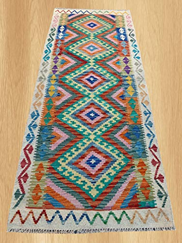 (Multi Color Hand Knotted Flat Weave Home Decor Oriental Afghan Veg Dyed Chobi Kilim Wool Area Geometric Runner Rug 6'8
