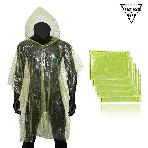Forbidden Road Poncho Emergency Rain poncho Cover with Hood Raincoat for Lightweight Tear Resistant for Camping Hiking Backpacking Survival Traveling Fishing Outdoor- 5 pieces in one Pair