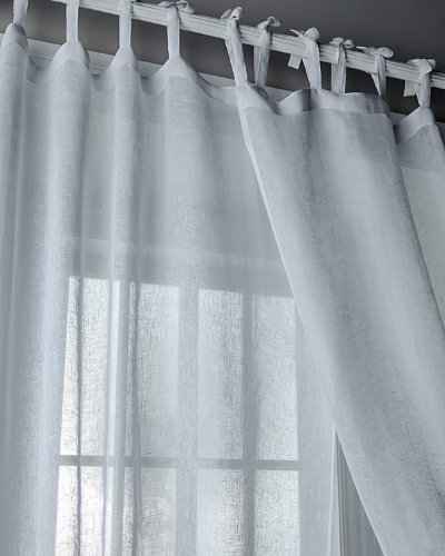 Sahara White linen sheer /gauze tie top curtain (52
