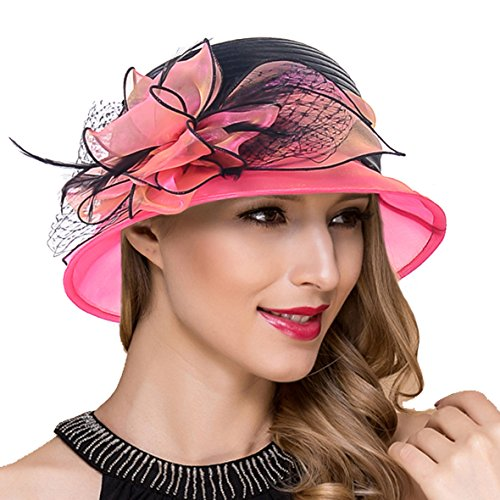 (Lady Church Derby Dress Cloche Hat Fascinator Floral Tea Party Wedding Bucket Hat S051 (S606-Rose))
